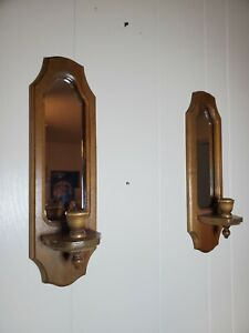 Set of Vintage Oak Solid Wood Oval Mirrors Candle Holders Wall Mount Sconces