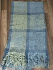"Nordstrom Kennebunk Home Hand Woven Throw Blanket Blue Plaid Fringe 70""L x 40""W"