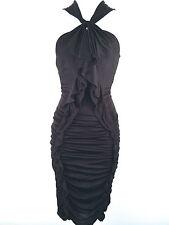 Karen Millen Jersey Nero da Festa da Cocktail Vestito Body Taglia 10 38