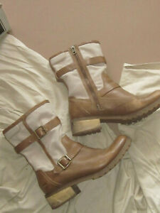 Timberland EARTHKEEPERS Tan Leather and Canvas ankle boots UK8