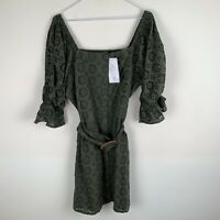 V by Very Broderie Button Through Pencil Dress Olive Green UK12 RRP£40