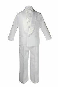 Baby Boy Teen White Shawl Lapel Party Suit to Choose LIME Satin Bow Necktie Vest