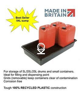 6x 25L = 54L Sump Oil Chemical Bunded Drip Spill Pallet Tray Removable base grid