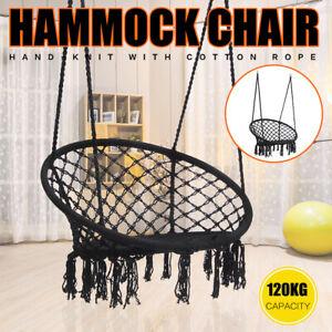 Hammock Chair Bohemian Style Cotton Rope Mesh Swing for Indoor Outdoor Garden