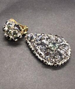 SINGLE Authentic Oscar De La Renta New Earring Jewelry Gray Green Crystals Clip