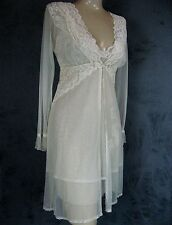 Claire Pettibone Bridal Couture Yvette Ivory Lace Chemise + Robe S New $389