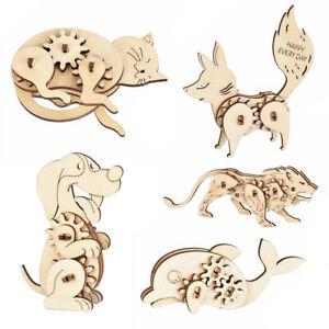 Kids DIY Assembly Wooden 3D Dog Animal Model Jigsaw Puzzle Toy Craft Gift Candy