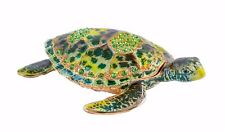 Hand Made Sea Turtle Trinket Box. Hand Painted Green Enamel & Austrian Crystal