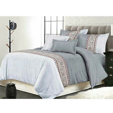 7 Pieces Luxury Bedding Comforter Sets Bed In A Bag Queen Size, Keiskei Grey