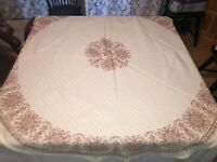 Vintage Floral Hand Embroidered Round Lace table cloth Cotton Linen Table Cover