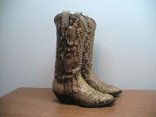 Vintage Womens 8.5 Laramie Handmade Full Python Exotic Snakeskin Cowboy Boots
