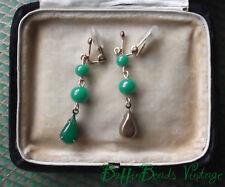 Lovely green JADE GLASS EARRINGS old vintage Japanese hand-made art GP clips etc