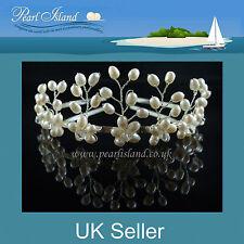 Wedding White Freshwater Pearl Tiara, Bridal/Bridesmaid, Handmade in Britain