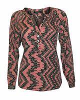 NEW Black Red Aztec Print Long Tunic Top Blouse Top Mandarin Collar Size 8 12 14
