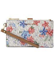 MK MICHAEL KORS JET SET Vanilla Multi FLORA Wallet Wristlet Handbag Flower New