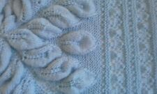 Hand Knitted Royal Embossed Leaves Baby Blanket/Shawl/Coverlet. New. Blue