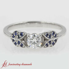 Half Carat Round Cut Diamond And Sapphire Vintage Leaf Design Engagement Ring