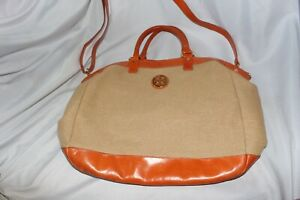 TORY BURCH Orange Patent Leather Woven Straw Large Tote Bag Authentic