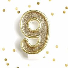 Light Gold Glitter Birthday Candle Number 9 Gold White Cake Topper Nine