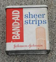 VTG Band-Aid Sheer Strips OLD Metal Lid Hinge Tin Box of 45 Mid-Century EMPTY