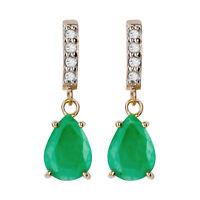 10k Yellow Gold Genuine Pear-Shape Emerald and Diamond Drop-Dangle Earrings