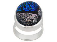 Artisan Gem Collection Of India, Ov Cabochon Dichroic Glass Sterling Silver Ring