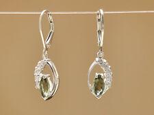 zircon - 2.8g #Ear377 Moldavite Faceted Silver.925 Earrings +