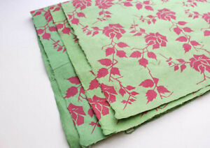 Pink Rose and Leaf Printed Green Gift Wrapping Paper