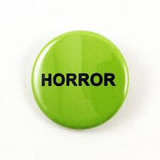 "Horror VHS Sticker 1 1/4"" Pinback Button - logo sticker replica video rental"