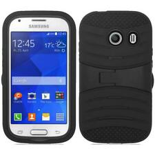 Samsung Galaxy Ace Style S765c - Black Hybrid Rugged Armor Case Black With Stand
