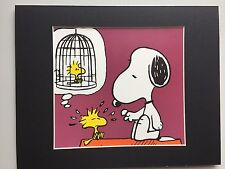 SNOOPY & WOODSTOCK~PEANUTS~8 X 10 MAT PRINT~TRAPPED IN A BIRDCAGE~NEW