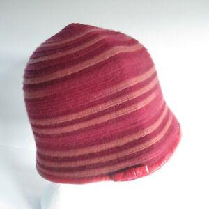 Vintage Cashmere Bucket Hat Gabriela Ligenza Red Stripe Leather Trim Italy Made