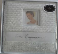 Engagement Photo Album White Leatherette Rattan Design -Wedding Gift