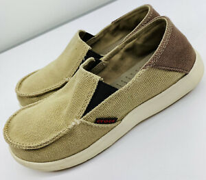 Crocs Kids Youth J5 Tan Santa Cruz Canvas Loafers Slip On Comfort.           HCP