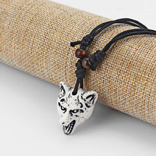 1 Pcs Faux Yak Bone Carved Wolf Head Charms Pendant Necklaces Jewlery