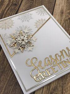 Stampin' Up Christmas Card Kit - Snowflake Season's Greetings Silver & Gold Foil