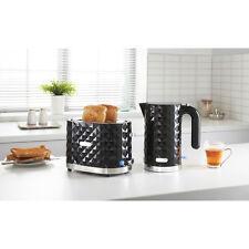Cocina Moderna 3000W 1.5L Diamante Hervidor & 2 Slice Toaster Set-Negro