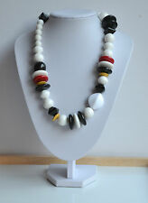 VINTAGE 80's MASSIVE RESIN plastic NECKLACE STATEMENT WHITE BLACK RED YELLOW