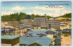 OAK RIDGE TENNESSEE*CITY OF THE ATOMIC BOMB*PROCESSING AREA VIEW*LINEN POSTCARD