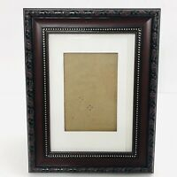 5x7 Brown Ornate Engraved Look Picture Photo Frame Matted