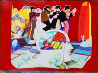 Vintage MCM 60s 70s Colorful Beatles Wall Hangings Heinz Edelmann Art Abstract