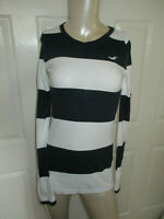 Hollister Juniors XS Long Sleeve Tee ~ Top Black & White Striped