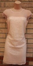 MISSGUIDED NUDE BABY PINK MESH SEQUIN BEADED PARTY SMOCK BAGGY TUNIC DRESS S M