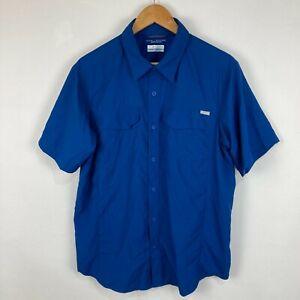 Columbia Mens Button Up Shirt Size M Medium Blue Short Sleeve Collared
