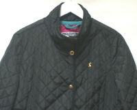 JOULES BLACK QUILTED LOGO COAT CINCHED WAIST FLORAL LINED UK 16 RN#76260