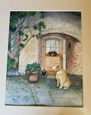 Yellow Labrador Retriever in Doorway Painting Watercolor Framed Signed Dog Lab