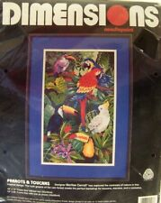 Dimensions Needlepoint Kit Parrots & Toucans #2408 Vintage Brand New in Pkg