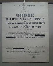 AFFICHE ANCIENNE ORDRE DE RAPPEL SOUS LES DRAPEAUX ARMEE DE TERRE