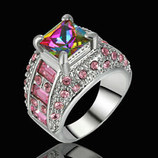 5.80/ct Rainbow Topaz Gems Wedding Ring Women's Silver Plated Jewelry Size 8
