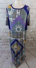 """MANGO SUIT long dress blue multicolour L 16 bust 42"""" floral ethnic boho stetchy"""